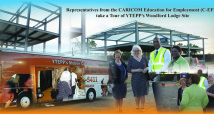 Representatives from the CARICOM Education for Employment (C-EFE) take a Tour of YTEPP's Woodford Lodge Site